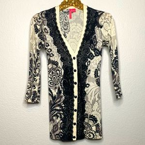 Charlotte Black and Ivory Lace Long Cardigan